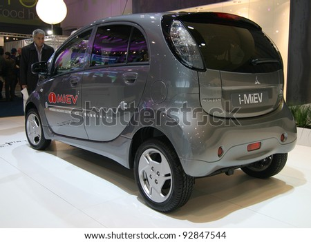 BRUSSELS, BELGIUM - JANUARY 15: Mitsubishi iMiev electric car shown at Euro Motors 2012 exhibition on January 15, 2012 in Brussels, Belgium