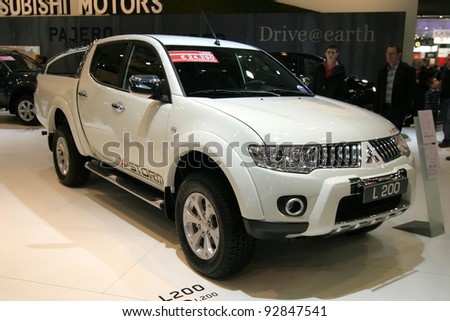BRUSSELS, BELGIUM - JANUARY 15: Mitsubishi L200 pickup shown at Euro Motors 2012 exhibition on January 15, 2012 in Brussels, Belgium