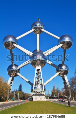 BRUSSELS BELGIUM-19 MARCH Atomium on March 19 2014 in Brussels.The Atomium was constructed for Expo 58.Designed by engineer Andre Waterkeyn and architects Andre and Jean Polak.It stands 102m tall