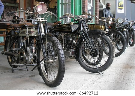 BRUSSELS, BELGIUM - MAY 10: Exhibition of early motorcycles in AUTOWORLD museum on May 10, 2007 in Brussels. The collection shows motorcycles from the era, when functionality gets useful level.