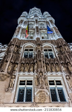 BRUSSELS, BELGIUM - MAY 11, 2014: Night view of the famous Grand Place (Grote Markt) - the central square of Brussels. Grand Place was named by UNESCO as a World Heritage Site in 1998.