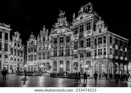 BRUSSELS, BELGIUM - MAY 11, 2014: Night view of the famous Grand Place (Grote Markt) - the central square of Brussels. Grand Place was named by UNESCO as a World Heritage Site in 1998. (Black&white).