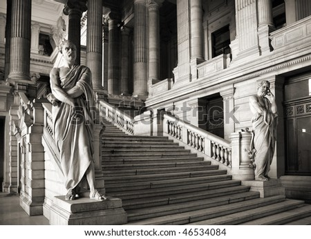 Brussels, Belgium. Monumental architecture landmark - Justice Palace (Palais de Justice). Eclectic and neoclassical style building serves as headquarters of several important law courts.