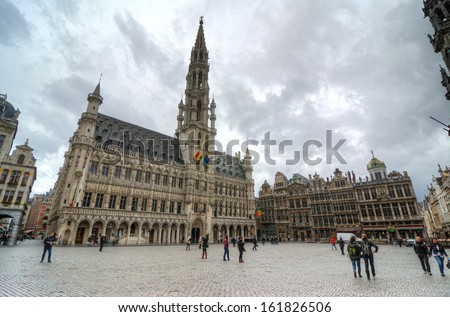 BRUSSELS, BELGIUM - OCTOBER 27 : Houses of the famous Grand Place on October 27, 2013, Brussels, Belgium. Grand Place was named by UNESCO as a World Heritage Site in 1998.