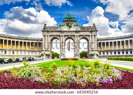Brussels, Belgium. Parc du Cinquantenaire with the Arch built for Beglian independence in Bruxelles. Stockfoto ©