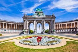 Brussels, Belgium. Parc du Cinquantenaire with the triumphal arch.