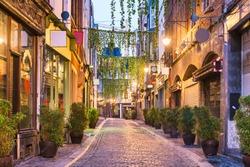 Brussels, Belgium quaint street scene at dawn.