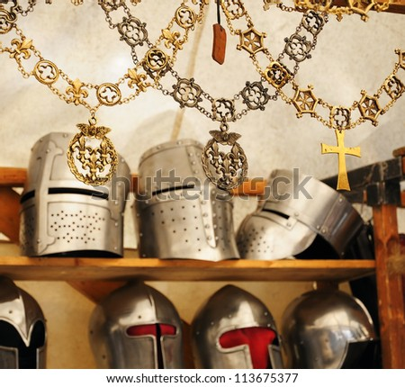 BRUSSELS, BELGIUM-SEPTEMBER 16: Artisan replicas of medieval knight's attributes are on sale during 16 Edition of Medieval Celebration in Abbey de Forest on September 16, 2012 in Brussels.
