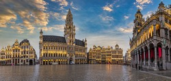 Brussels Belgium, sunset panorama city skyline at famous Grand Place town square