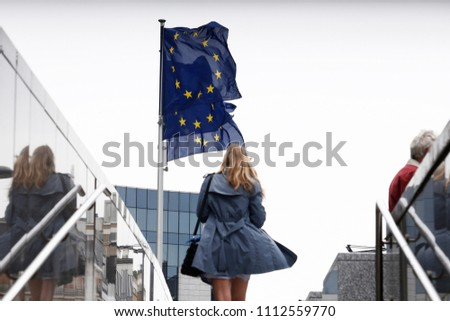 Brussels, Belgium.14th June 2018. European flags wave in front of European Commission headquarters.  #1112559770