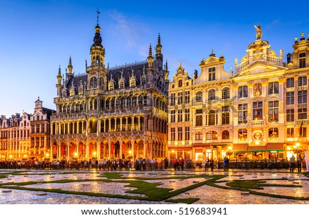 Brussels, Belgium. Wide angle night scene of the Grand Place and Maison du Roi, one of Europe finest historic squares and a must-see sight of Bruxelles. #519683941