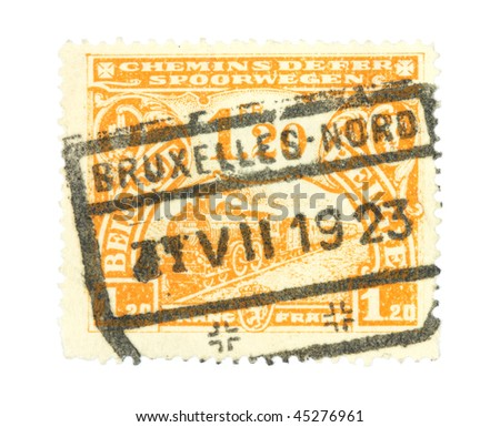 BRUSSELS - CIRCA 1923: Old stamp from Belgium. Canceled in Brussels in 1923.