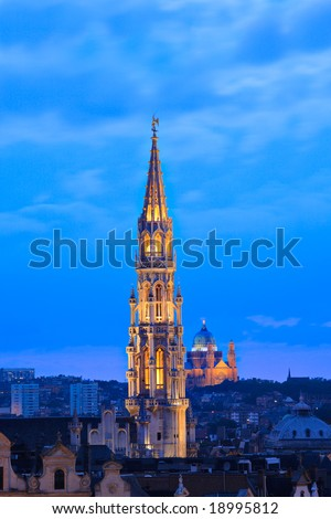 Brussels cityscape at dusk
