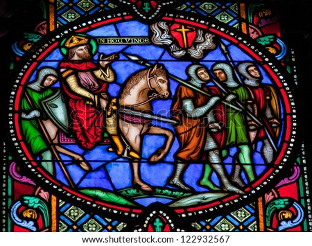 BRUSSELS - JULY 26: Stained glass window depicting  the First Crusade (11th Century) in the cathedral of Brussels on July, 26, 2012.