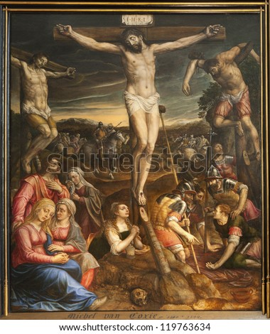 BRUSSELS - JUNE 22: Crucifixion of Jesus. Paint from Saint Michael and Saint Gudula cathedral by Michael van Coxie from 16. cent. on June 22, 2012 in Brussels.