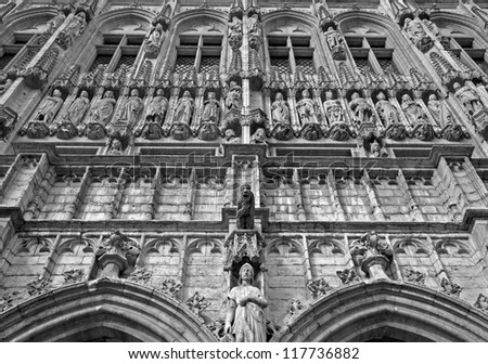 BRUSSELS - JUNE 21: Gothic facade of Town hall. Palace was built between 1401 and 1455, and it is a UNESCO World Heritage Site on June 21, 2012 in Brussels.