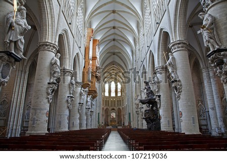 BRUSSELS - JUNE 22: Nave of gothic cathedral of Saint Michael on June 22, 2012 in Brussels.