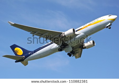 BRUSSELS - MAY 25: An Airbus A330-200 approaching Brussels Airport in Brussels, Belgium on May 25, 2012. Jet Airways is the second largest Indian airline based in Mumbai.
