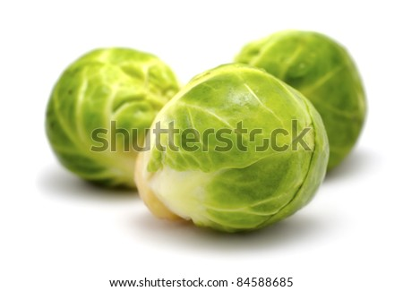 brussels sprouts cabbage isolated on white