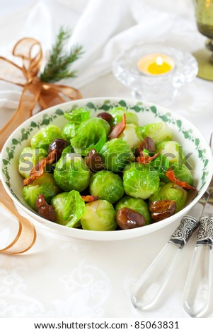 brussels sprouts with bacon and chestnuts for Christmas