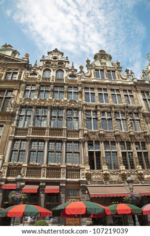 Brussels - The facade of palaces from main square in morning light. Grote Markt.
