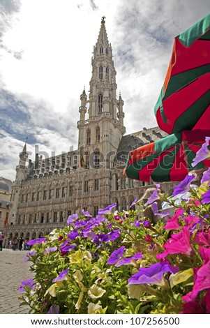 Brussels - The main square and Town hall. UNESCO World Heritage Site.