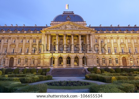 Brussels - The Royal Palace in evening, Belgium.