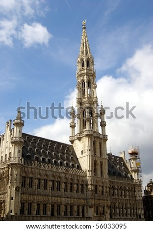 Brussels' town hall in the Grand Place. Brussels, Belgium