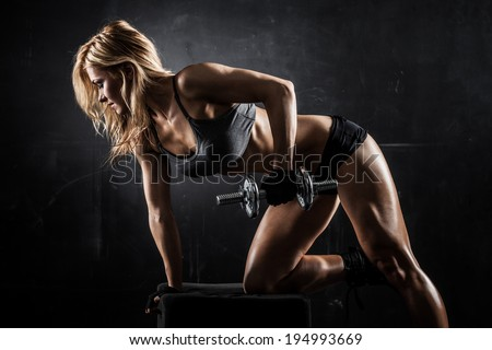 brutal athletic woman pumping...