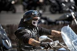Brutal biker with skeleton mask