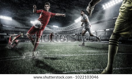 Brutal Soccer action on rainy 3d sport arena. mature player with ball #1022103046