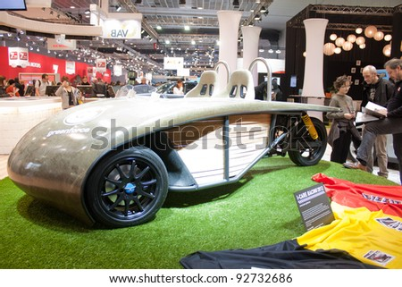 BRUXELLES, BELGIUM - JANUARY 14: I-Care Racing electric car on display at Belgian Auto Salon 2012 on January 14, 2012 in Bruxelles, Belgium