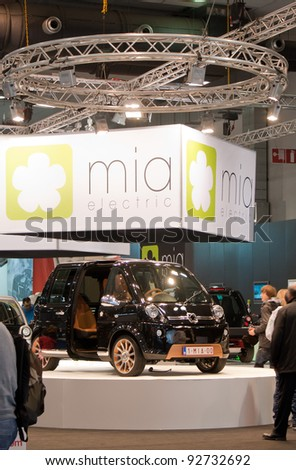 BRUXELLES, BELGIUM - JANUARY 14: MIA electric car on display at Belgian Auto Salon 2012 on January 14, 2012 in Bruxelles, Belgium