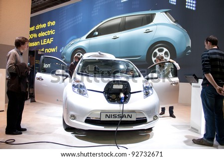 BRUXELLES, BELGIUM - JANUARY 14: Nissan Leaf electric car on display at Belgian Auto Salon 2012 on January 14, 2012 in Bruxelles, Belgium
