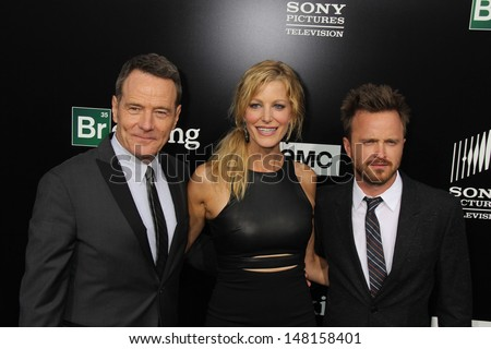 """Bryan Cranston, Anna Gunn and Aaron Paul at the """"Breaking Bad"""" Special Premiere Event, Sony Studios, Culver City, CA 07-24-13"""
