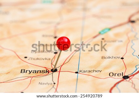 Bryansk pinned on a map of europe