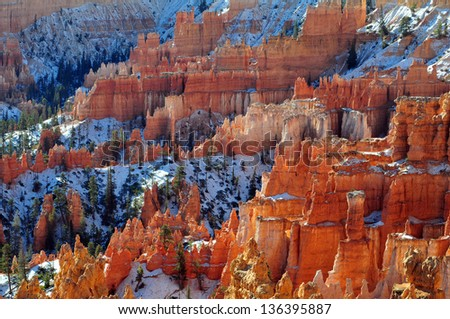 Bryce Canyon National Park is located on the Colorado Plateau in southern Utah/ Hoodoos/ Erosion patterns called hoodoos are created by water running on steep slopes along with freezing and thawing.