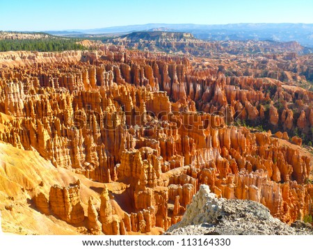 Bryce Canyon, Utah. Panoramic view showing the hoodoo rock formations and mountains.