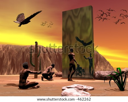 """Bryce 3D creation.  My interpretation of a scene from the Kubric movie """"Dawn of mankind""""."""