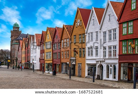 Bryggen, Bergen, Norway. Hanseatic heritage commercial wooden buildings in the city of Bergen.