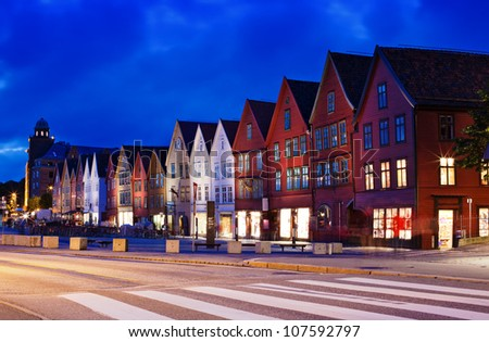 Bryggen, houses on quay in Bergen in Norway. Long exposure effect.