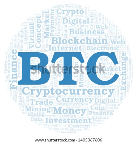 BTC or BitCoin cryptocurrency coin word cloud. Word cloud made with text only.