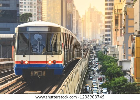 BTS Sky Train is running in downtown of Bangkok.  Sky train is fastest transport mode in Bangkok