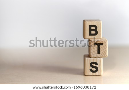 BTS - text on wooden cubes, on white background Stock fotó ©