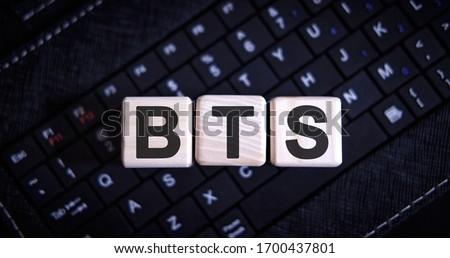 BTS word concept on cubes on the keyboard Stock fotó ©