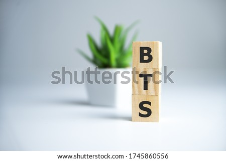 BTS word concept on cubes on white background. Stock fotó ©