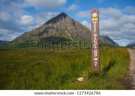 Buachaille Etive Mor and West Highland Way sign in Scotland