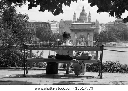 Buapes - homeless over the town - Chain bridge and st. Stephen church in background