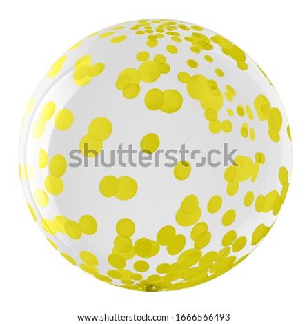 Bubble (bobo) round shape transparent balloon with yellow-gold dots pattern imitating round shape confetti paper Foto stock ©