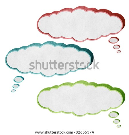 bubble cloud talk box 3D recycled paper craft stick on white background